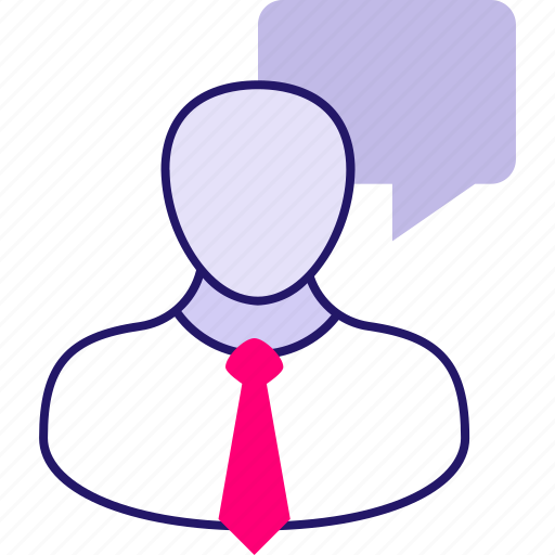 bubble, business, businessman, chat, communication, man, speech icon icon