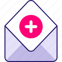 add, box, communication, document, inbox, letter, mail, message icon icon