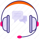 chat bubble, customer representative, customer service, headphone, music icon icon icon