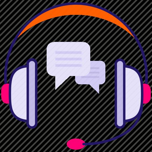 chat bubble, customer representative, customer service, headphone, music icon icon icon