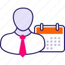 appointment, business agenda, business calendar, businessman with calendar, scheduling icon icon