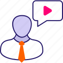 businessman, online, video chat icon icon