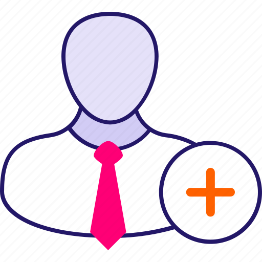 account, add, avatar, businessman, manager, plus, user icon icon