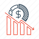 business, decline, decrease, failure, loss, profit icon