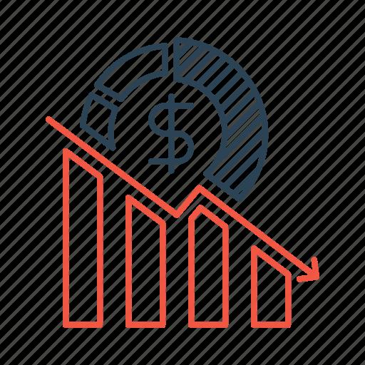 business, decline, decrease, failure, loss, profit icon