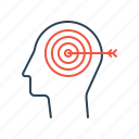 brain, dream, future, goal, mission, storming, target icon