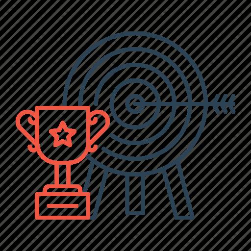 arrow, award, bullseye, goal, success, target, trophy icon