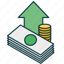 cash, finance, income, income growth, profit, revenue, revenue growth icon