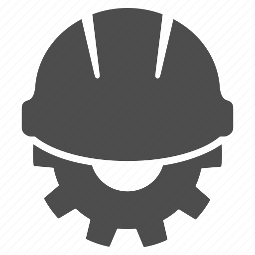 business, development, engineering, gear, helmet, industry, work icon