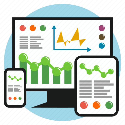 business, chart, development, earnings, responsive, screen, tablet icon