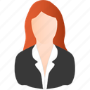 business, red, woman icon