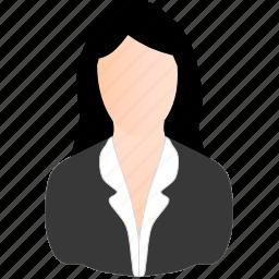 business, white, woman icon