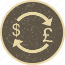 dollar, exchange, money, pound icon