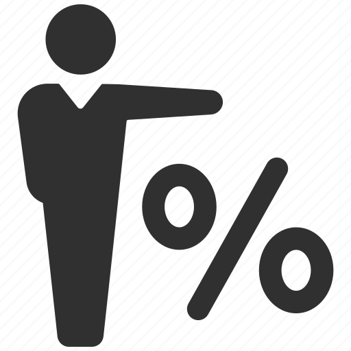 businessman, discount, percent, percentage, sale, shopping, user icon