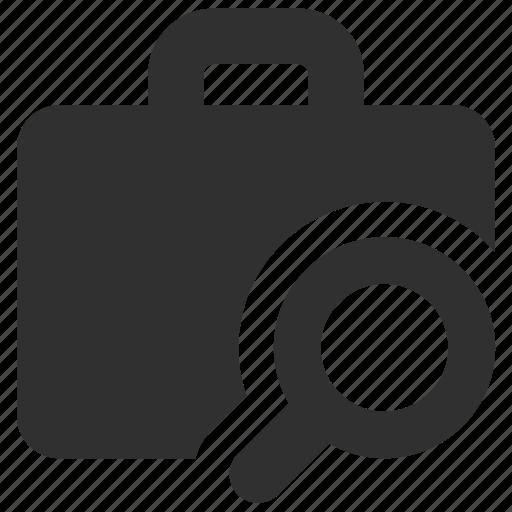 analysis, briefcase, case, magnifying glass, portfolio, search, suitcase icon