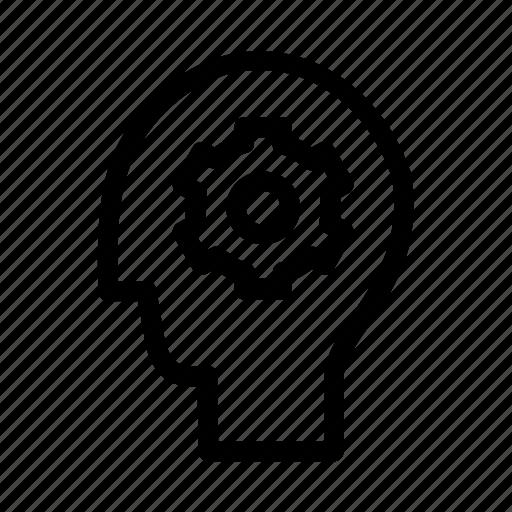 brain, business, cogwheels, head, mind, people, productivity icon