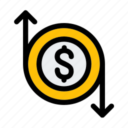 business, coin, currency, dollar, finance, flow, money icon