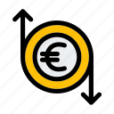 business, coin, currency, euro, finance, flow, money icon