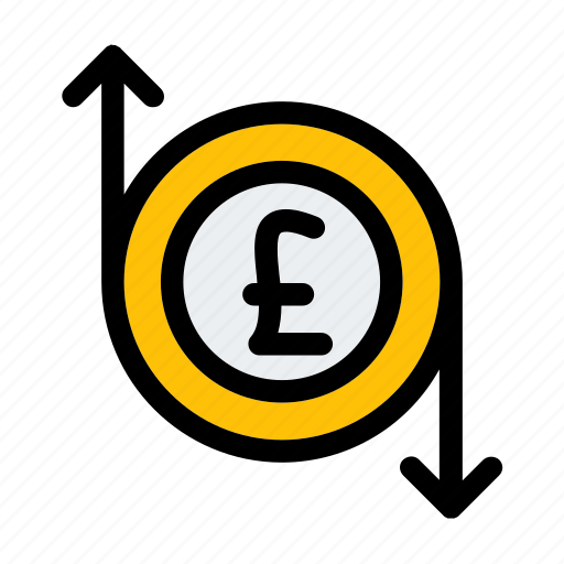 business, currency, finance, flow, money, pound icon
