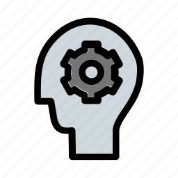 brain, business, cogwheels, head, mind, planning, productivity icon