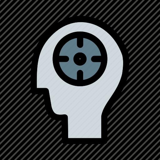 aim, brain, business, focus, mind, productivity, target icon