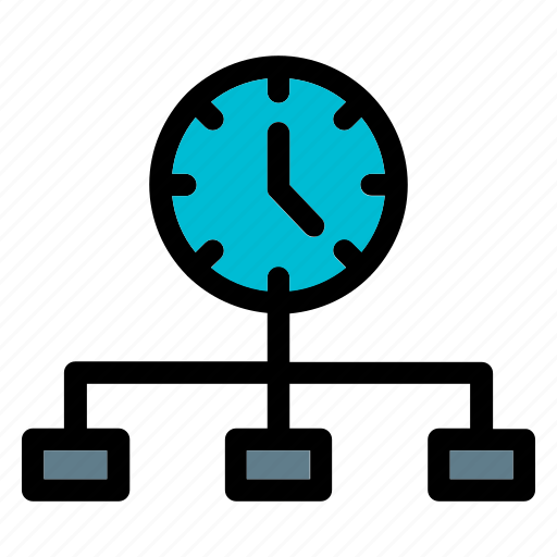 business, clock, heirarchy, management, productivity, scheme, time icon
