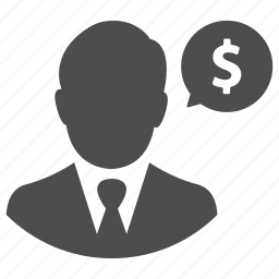 business, earnings, finance, man, message, money, talk icon