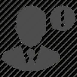 alert, business, danger, man, message, talk, warning icon