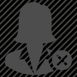 business, delete, dismiss, fire, remove, user, woman icon