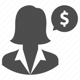 business, dollar, finance, message, money, talk, woman icon