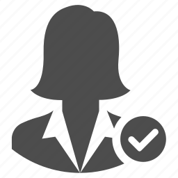 business, correct, done, tick, user, woman, womanaccept icon