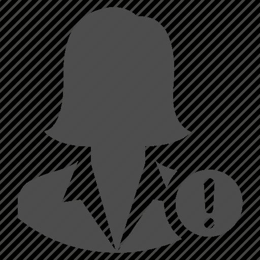 alert, business, danger, user, warning, woman icon