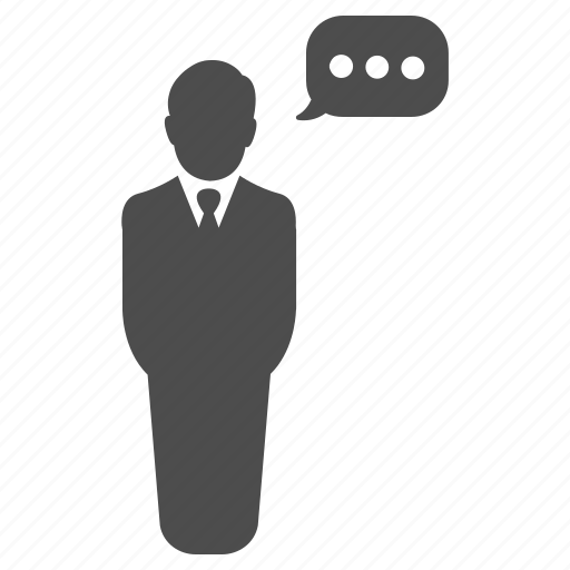 business, businessman, communication, speech, standing, talk, talking icon