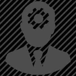 businessman, gear, idea, man, think, thinking, user icon
