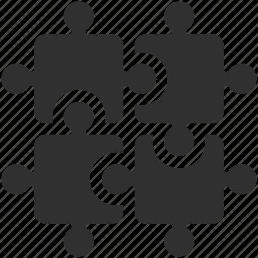 business solution, integration, puzzle, puzzle pieces, puzzles, solution, teamwork icon