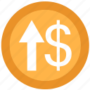 arrow, dollar, up, upload icon