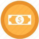 bills, coins, dollar, money icon