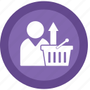 basket, ecommerce, upload icon