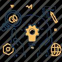cogwheel, development, hands, plan icon