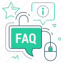 speech bubble, faq, computer mouse, information
