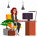 beautiful, business, office, people, woman, worker icon