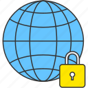 earth, global, globe, internet, lock, security, world icon