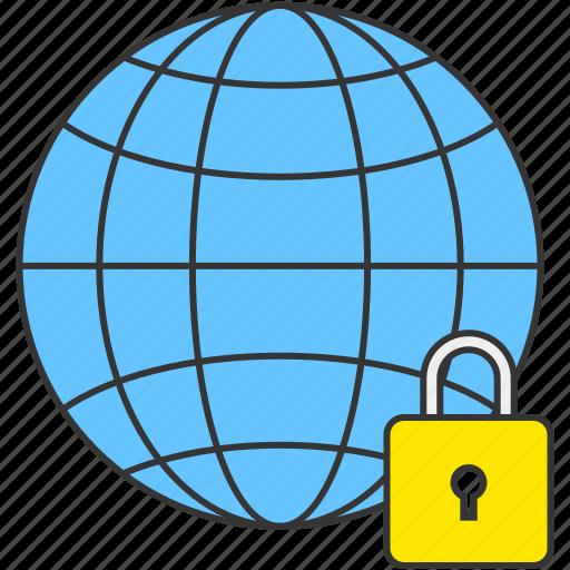earth, global, globe, internet, lock, security, world icon