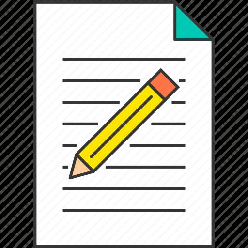 document, file, memo, office, pencil, study icon