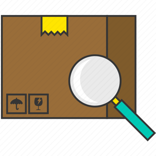 box, delivery, packaging, search, shipping, shopping, zoom icon