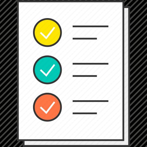 checklist, checkmark, document, file, report, to do list icon