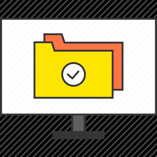check, computer, file, folder, moniter, office, work icon