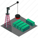 building, businesses, container, crane, storage, yard icon