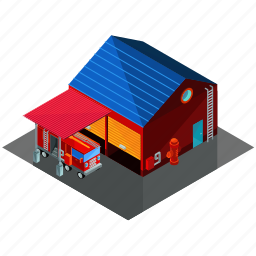architecture, building, businesses, emergency, fire, firestation, station icon