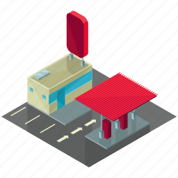 building, businesses, gas, gasoline, house, station icon